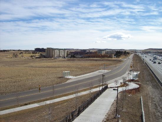 Candlewood Suites Meridian Business Center: Distance from light rail bridge to hotel (background)