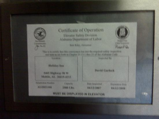 Holiday Inn Mobile West I-10: Expired elevator permit