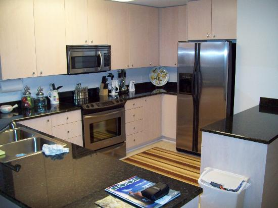 Sea Breeze Condominium Resort: Granite Countertops and Stainless Steel appliances in Kitchen.