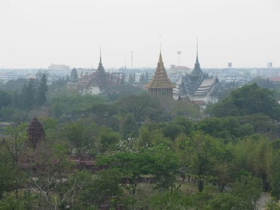 View of Muang Boran park from a hilltop in Muang Boran ...