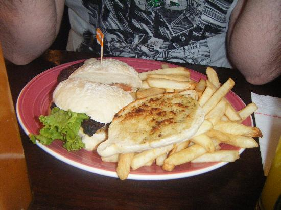 Prego Steak Roll With Garlic Bread And Chips Picture Of