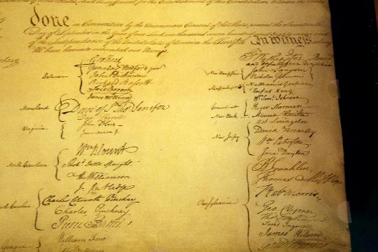 National Archives - The Constitution, some signatures ...
