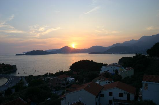 Petrovac, Montenegro: Sunset from Sveti Stefan, Hotel Adrovic  roof Terrace