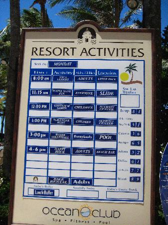 Resort Activity Board Picture Of Marriott San Juan