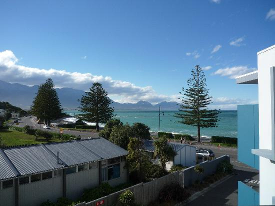 Waves on the Esplanade Kaikoura: view from our room
