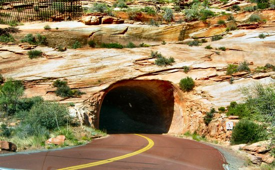 Zion National Park, UT: the tunnel going into the canyon