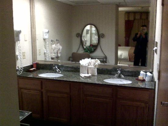 Radisson Ontario Airport: Double sink with vanity mirror and chair