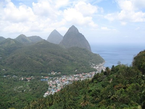 St. Lucia: Pitons over Soufrire