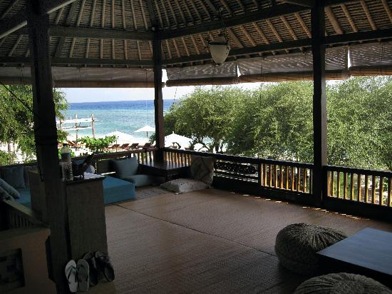 Our wonderful decking at Alam Gili, right on the beach