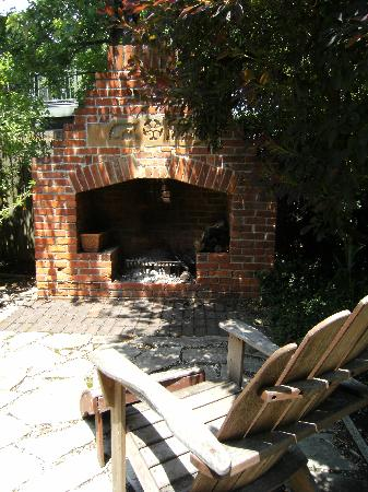 German Village Guest House: The brick fireplace
