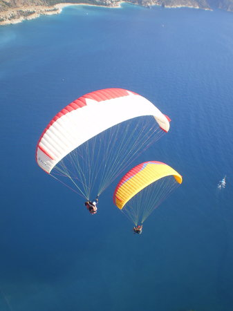 , : paragliders from above