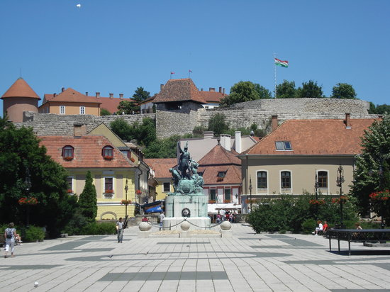 The view of Eger Castle from Dobo Istvan Ter