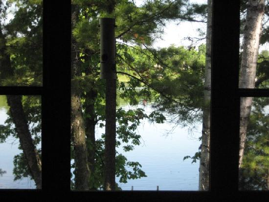 Lost Lake Lodge: view out cabin&#39;s living room window