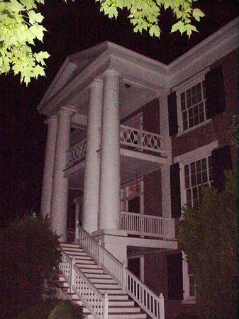 Maple Hall: The front by night