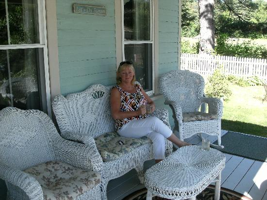 Inn at Long Lake: Enjoying tea on the deck!