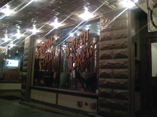 Fredericksburg Bed and Brew: the front window of restaurant at night