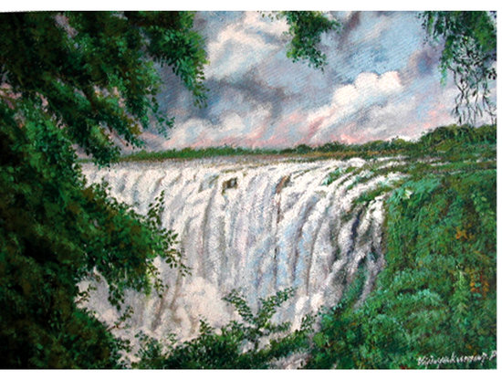 Kerala, India: ATHIRAPPILLI WATER FALLS-A PAINTING BY ARTIST VIJAYAKUMAR
