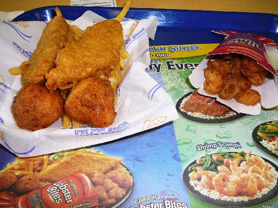 Fries chicken planks hush puppies and lobster bites for What kind of fish does long john silver s use