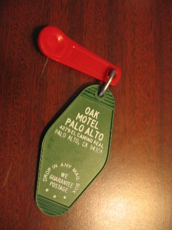 The Oak Motel Palo Alto: room key, we had not yet seen this kind