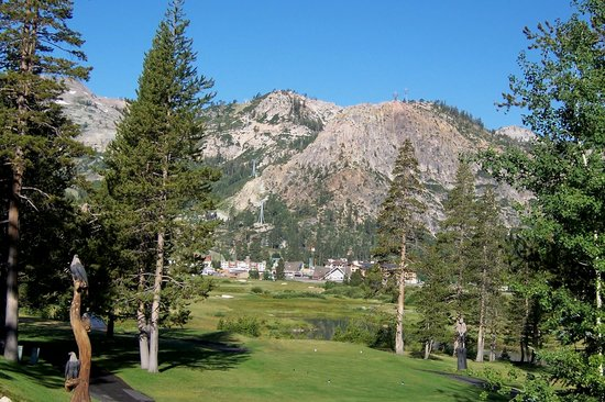 Olympic Valley, : 10th hole on golf course, overlooking Squaw Valley village