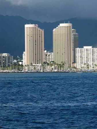 Hawaii Prince Hotel Waikiki: Here's the hotel as seen from the water.  All rooms have ocean views!