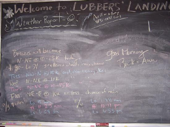 Lubbers&#39; Landing: Daily Info Board