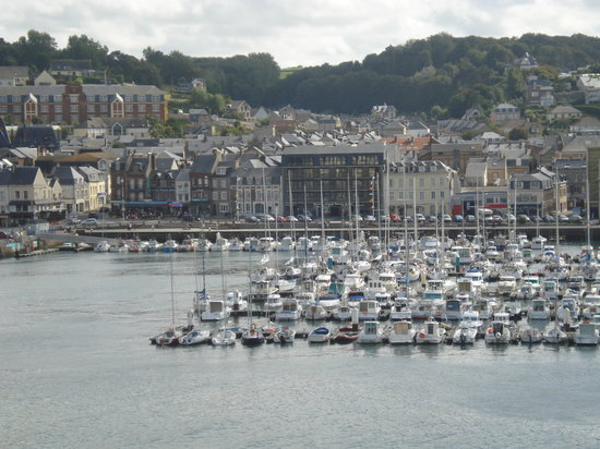 Fecamp, France: the hotel is the biggish brown building - taken from the other side of the marina and up the hea