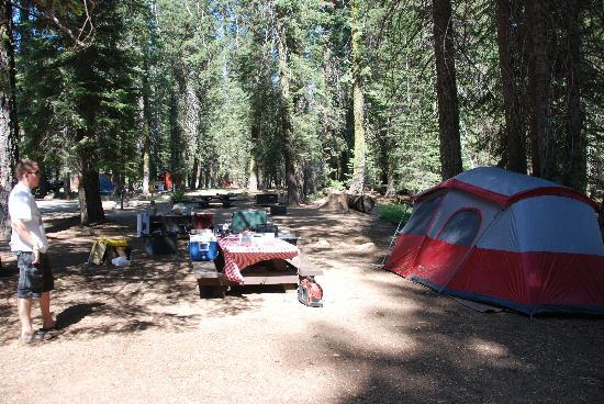 Stony Creek Campground: From our campsite, with the bathrooms (orange buildings) visible in the far background