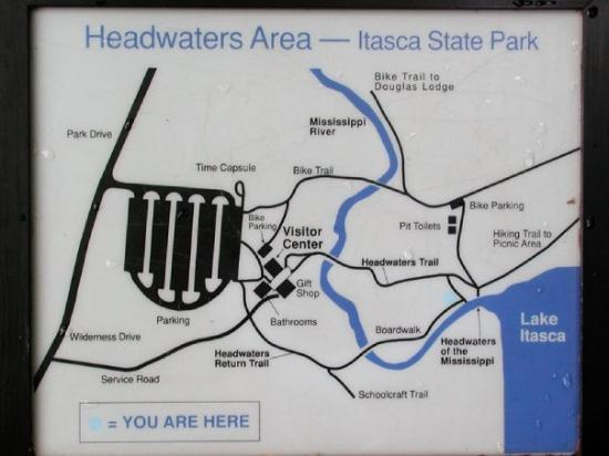 Headwaters Area Trail Map At Lake Itasca Minnesota