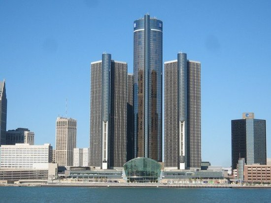 , : World Headquarters of General Motors in Detroit, Michigan.