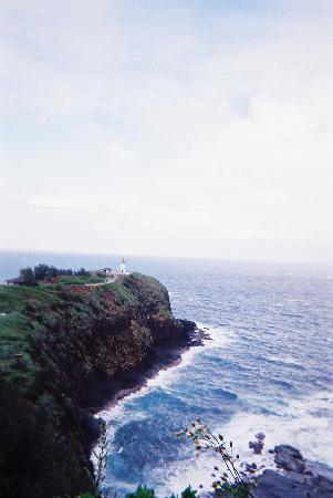 View of Kilauea Point NWR lighthouse from overlook at entrance