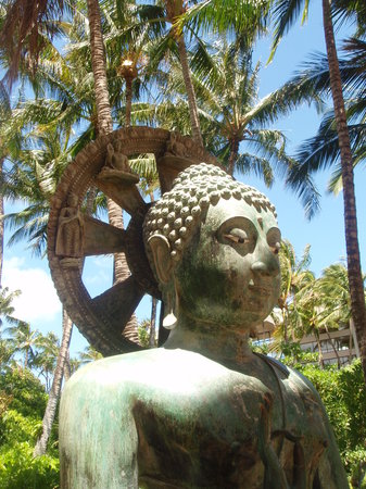 Waikoloa, Hawaï: Asian artwork on hotel grounds
