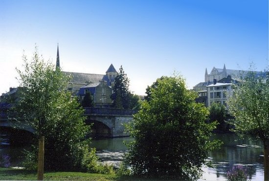 Poitiers, France: Sainte Radegonde as seen from the riverside of the Clain.