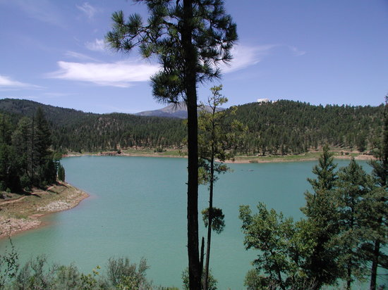 Ruidoso, NM: View of Grindstone Lake and Sierra Blanca from trail.
