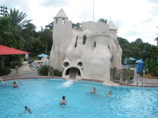 Part of the main pool and it s slide picture of disney s old key
