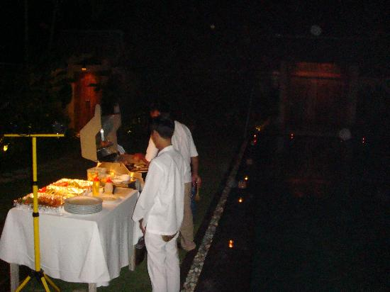Space at Bali: Staffs preparing foods for our BBQ Party by the pool
