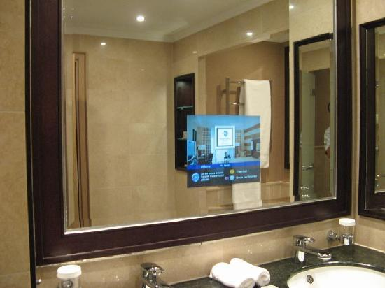 Ordinaire Popular Textured Blue Walls In Bathroom Is That A TV Built Into The Mirror