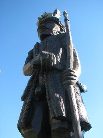 Taitung, Taiwan: Aboriginal carved wooden statue in front of hotel.