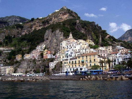 A boat perspective of Amalfi