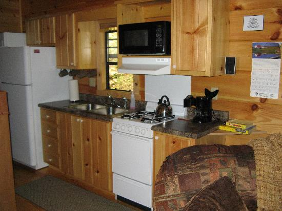 Dancing Sun Cabins: Kitchen area in Moondance, bathroom is to the left there and bedroom is straight back