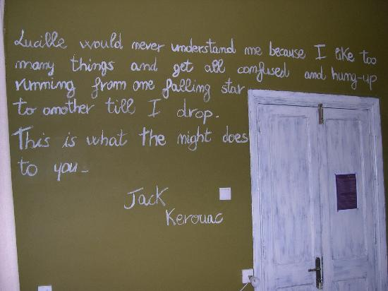 quotes on wall. and relaxing on the other