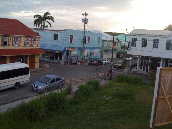Joe Mike's Hotel Plaza: view from veranda looking down Nevis toward cruise ship port