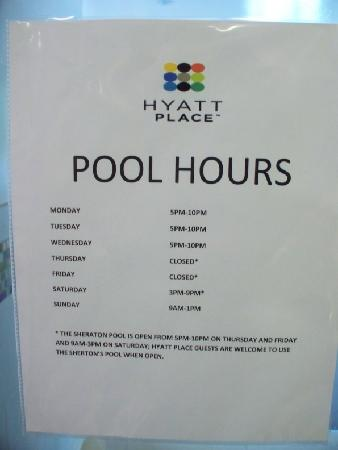 Pool Room Has Very Odd Hours Picture Of Hyatt Place Herndon Dulles Airport East Herndon