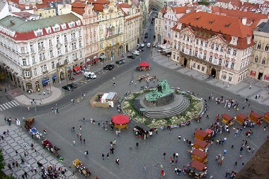 View of the old town square from the clock tower picture for Hotels near old town square prague