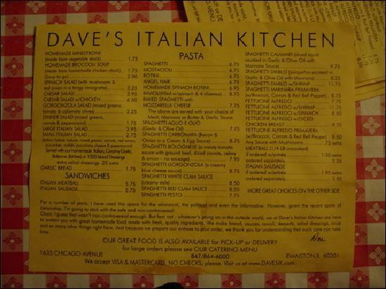 Menu shot picture of dave 39 s italian kitchen evanston for Daves italian kitchen