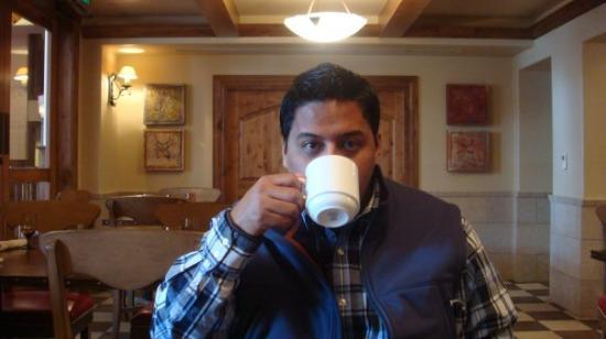 The Sebastian - Vail: My hubby, Daniel, sipping coffee at the Galileo Restaurant.