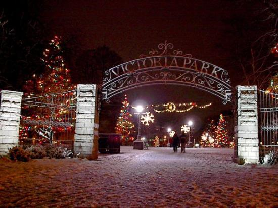 London, Canada: Victoria Park Gates after a snowfall.