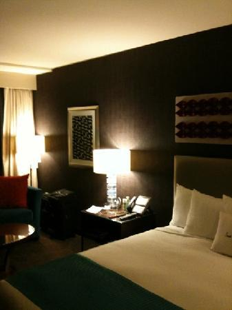 theWit, a Doubletree Hotel: a side shot of the bed and nightstand