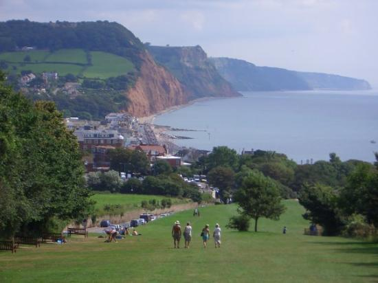 Looking down on Sidmouth (folk festival)