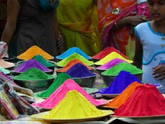 Ujjain, India: Rangoli colours on sale